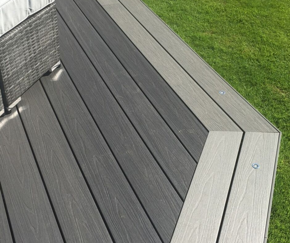 Create a unique two-tone decking project by creating a darker or lighter boarder.